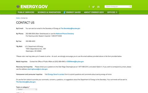 Screenshot of Contact Page energy.gov - Contact Us | Department of Energy - captured Dec. 16, 2016