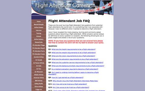 Screenshot of FAQ Page flight-attendant-careers.com - Flight Attendant Job FAQ - Find your answers HERE - captured Oct. 30, 2014