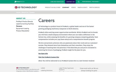 Screenshot of Jobs Page idtechnology.com - Career Opportunities at ID Technology - captured July 18, 2018