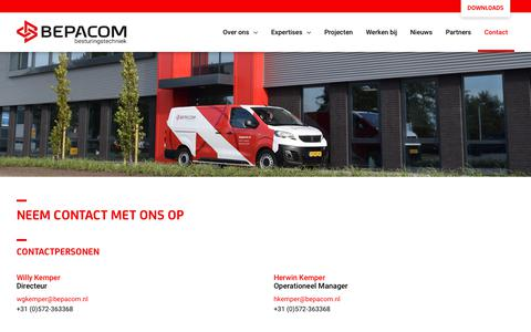 Screenshot of Contact Page bepacom.nl - Contact - Bepacom Besturingstechniek - captured Nov. 13, 2018