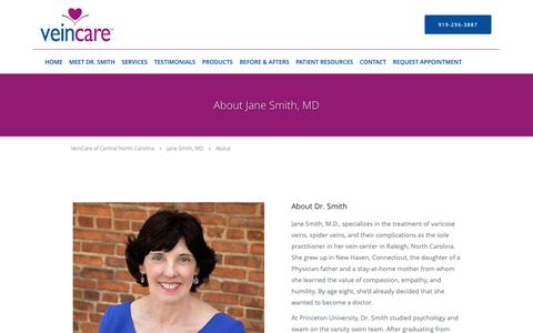 Screenshot of About Page veincareofnc.com - About - Jane Smith, MD: Phlebologist Raleigh , NC - captured Oct. 18, 2018