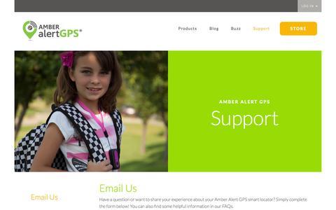 Screenshot of Support Page amberalertgps.com - Amber Alert GPS Kids Tracking Device - Support - captured Nov. 6, 2015