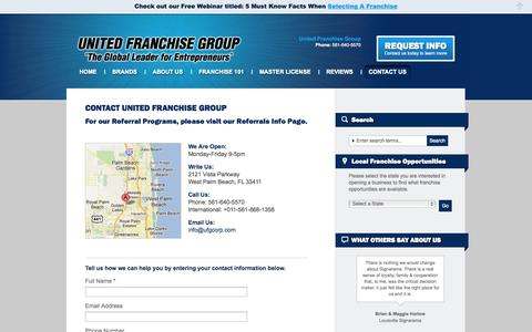 Screenshot of Contact Page unitedfranchisegroup.com - Contact UFG | Find a Franchise for Sale and Business OpportunitiesUNITED FRANCHISE GROUP The Global Leader for Entrepreneurs - captured Oct. 27, 2014