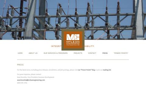 Screenshot of Press Page mcleanengineering.com - Press — McLean Engineering - captured Oct. 27, 2014