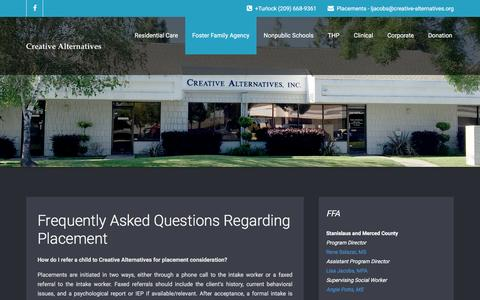 Screenshot of FAQ Page creative-alternatives.org - Frequently Asked Questions Regarding Placement | Creative Alternatives, Inc. - captured Nov. 13, 2016
