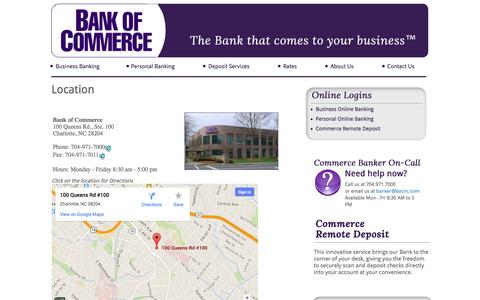 Screenshot of Maps & Directions Page bankofcommercenc.com - Location - captured Oct. 5, 2014