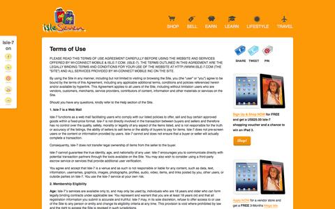 Screenshot of Terms Page isle-7.com - Terms of Use  | Isle-7.com - captured Oct. 27, 2014