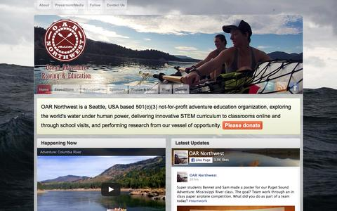 Screenshot of Home Page oarnorthwest.com - OAR Northwest – Ocean adventure rowing and education organization specializing in ocean rowing, expedition management, adventure education, school assembly programs, documentary filming, fund raising, and research aboard ocean rowboats. - captured Feb. 25, 2016