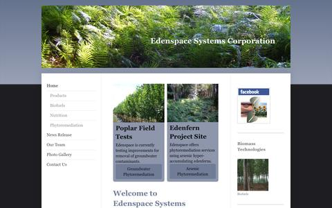Screenshot of Home Page edenspace.com - Crop Biotechnology - Edenspace - captured Oct. 2, 2014