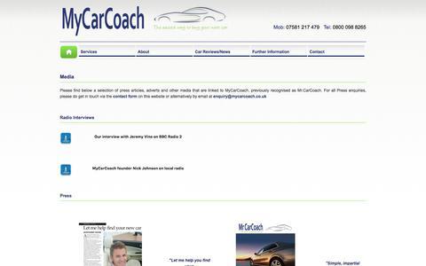 Screenshot of Press Page mycarcoach.co.uk - MyCarCoach - Press - captured Nov. 30, 2016