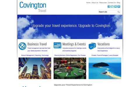 Screenshot of Home Page covingtontravel.com - Luxury Travel Agency, Business Travel   Covington Travel - captured Sept. 30, 2014