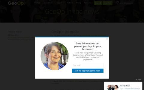 Screenshot of Press Page geoop.com - GeoOp in the Media - captured July 3, 2016