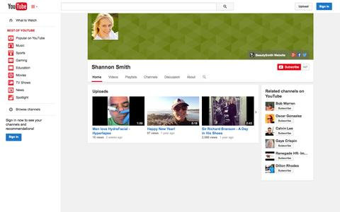Screenshot of YouTube Page youtube.com - Shannon Smith  - YouTube - captured Oct. 27, 2014