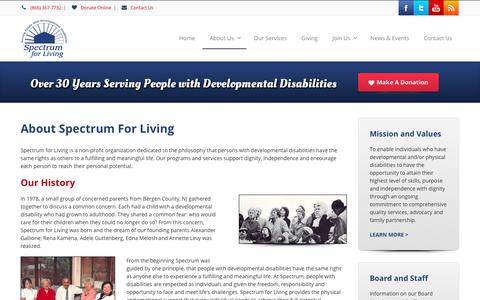 Screenshot of About Page spectrumforliving.org - About Spectrum for Living - Spectrum For Living - captured June 15, 2017