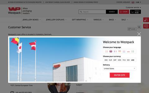 Screenshot of Support Page westpack.com - Customer Service - captured Oct. 20, 2017