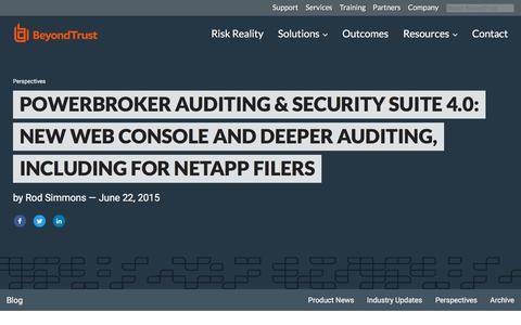 Screenshot of Team Page beyondtrust.com - PowerBroker Auditing & Security Suite 4.0: New Web Console and Deeper Auditing,  | BeyondTrust - captured Jan. 3, 2020