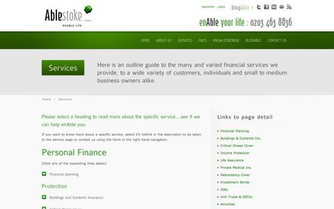 Screenshot of Services Page ablestoke.com - Services - captured Oct. 4, 2014