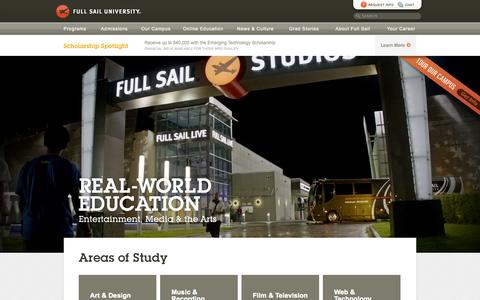 Screenshot of Home Page fullsail.edu - Full Sail University: Campus and Online Degrees - captured Sept. 18, 2014