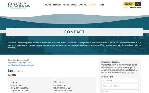 Screenshot of Contact Page canadiandewatering.com - Contact | Canadian Dewatering - captured Nov. 9, 2018