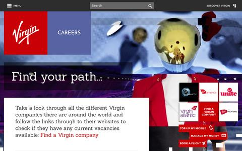 Screenshot of Jobs Page virgin.com - Careers - Virgin.com - captured Oct. 26, 2014