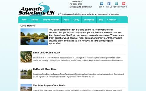 Screenshot of Case Studies Page aquatic-solutions.co.uk - Lake Management Case Studies for our aquatic solutions | Aquatic Solutions - captured Oct. 4, 2014