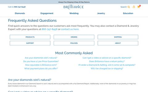 Screenshot of FAQ Page brilliance.com - Frequently Asked Diamond Questions | Brilliance - captured Oct. 14, 2019