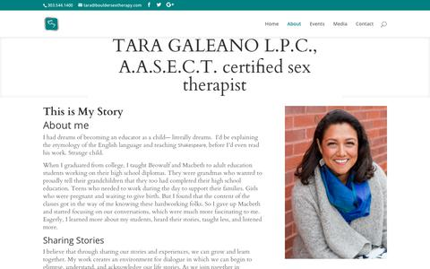 Screenshot of About Page bouldersextherapy.com - About Tara Galeano, LPC - Boulder Sex Therapy - Learn More - captured July 13, 2018