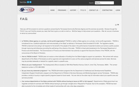 Screenshot of FAQ Page tncsa.com - F.A.Q. - captured Nov. 3, 2014