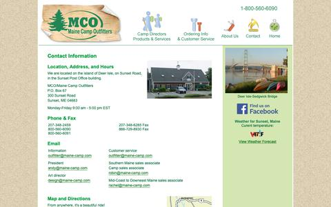 Screenshot of Contact Page maine-camp.com - Contact Information for Maine Camp Outfitters - captured Oct. 2, 2018