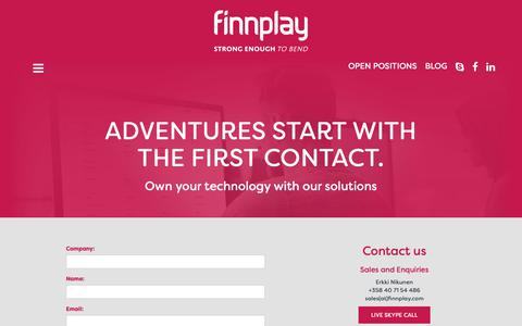 Screenshot of Contact Page finnplay.com - Finnplay - ADVENTURES START WITH THE FIRST CONTACT. - captured Dec. 9, 2018