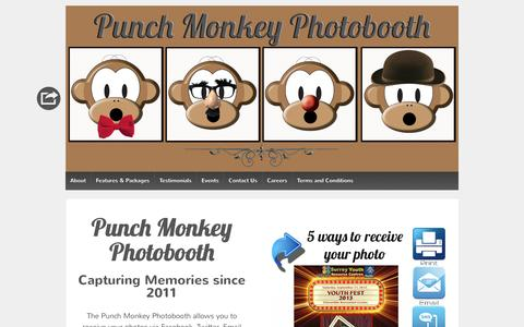 Screenshot of Home Page punchmonkeyphotobooth.com - Punch Monkey Photobooth - Vancouver | Capturing Memories Since 2011 - captured July 18, 2016