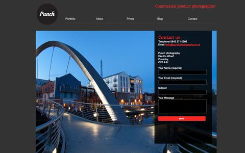 Screenshot of Contact Page punchphotography.co.uk - Contact our Photo Studio   Punch Photography West Midlands - captured Sept. 30, 2014