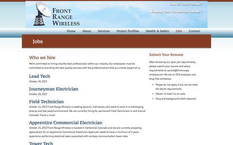Screenshot of Jobs Page frontrangewireless.com - Work For Us Front Range Wireless - captured Sept. 30, 2014