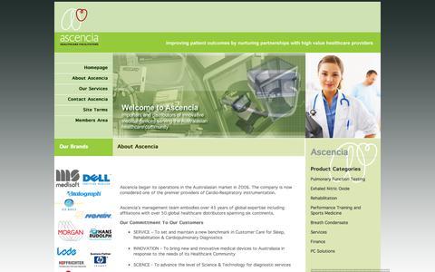Screenshot of About Page ascencia.com.au - Ascencia: About Us - captured Sept. 30, 2014