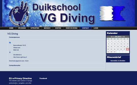 Screenshot of Contact Page vgdiving.nl - Contact - captured Oct. 27, 2018