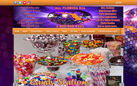 Screenshot of Home Page allfloridadjs.com - Providing Florida with DJs and MCs for Weddings, Bar Mitzvahs, Bat Mitzvahs, Corporate event - captured July 29, 2018