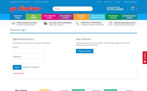 Screenshot of Login Page go-displays.co.uk - Customer Login - captured Feb. 26, 2020