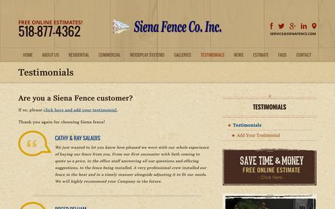 Screenshot of Testimonials Page sienafence.com - Fencing Testimonials   Fencing Residential   Commercial Industrial Fences - captured Nov. 5, 2014