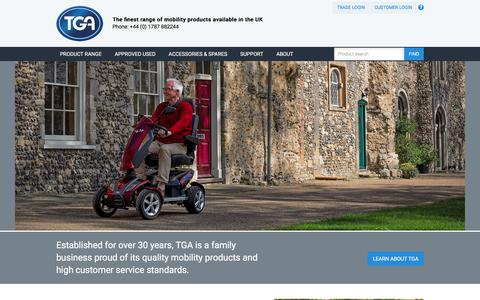 Screenshot of Home Page tgamobility.co.uk - Mobility Scooters, New & Used Disability Scooter Range  TGA Mobility - captured June 18, 2017
