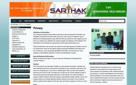 Screenshot of Privacy Page sarthakics.com - Privacy - captured Nov. 3, 2014