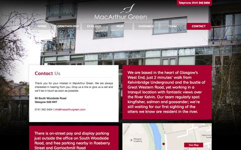 Screenshot of Contact Page macarthurgreen.com - Contact - MacArthur Green - captured Oct. 4, 2014