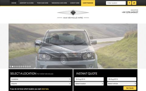 Screenshot of Home Page 4x4vehiclehire.co.uk - 4x4 Hire Company - The UK's Favourite 4x4 Vehicle Hire Co. : - captured Aug. 4, 2015