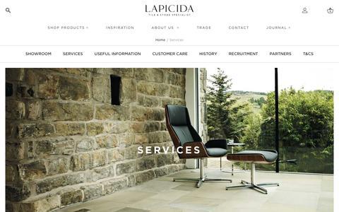 Screenshot of About Page Services Page lapicida.com - Services |  Lapicida - captured July 22, 2019