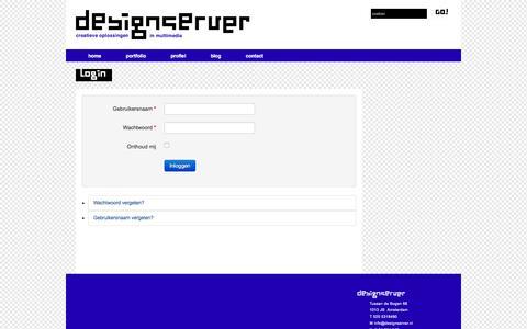 Screenshot of Login Page designserver.nl - Login - Designserver - captured June 2, 2016
