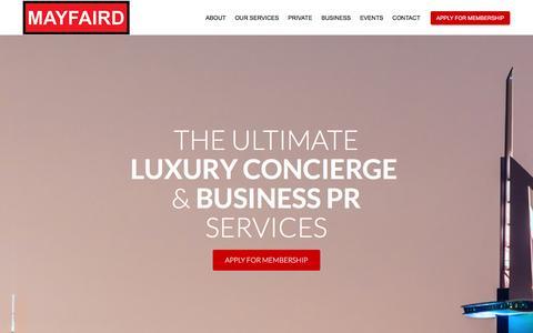 Screenshot of Home Page mayfaird.com - Luxury Concierge - captured Jan. 9, 2016