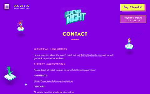 Screenshot of Contact Page lightsallnight.com - Contact - Lights All Night - captured Sept. 28, 2018