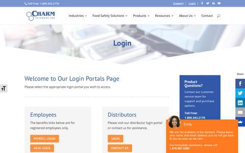 Screenshot of Login Page charm.com - Login - Charm Sciences - captured Nov. 23, 2019