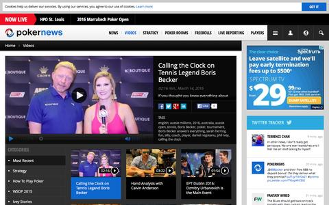Screenshot of pokernews.com - Online Poker Videos. Tournaments, strategy and webcasts | PokerNews - captured March 19, 2016