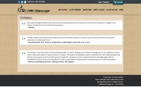 Screenshot of Testimonials Page sleeveamessage.com - Testimonials |Sleeve a Message - captured Sept. 30, 2014