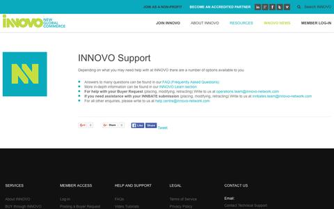 Screenshot of Support Page innovo-network.com - INNOVO | New Global Commerce - Support - captured Feb. 2, 2016
